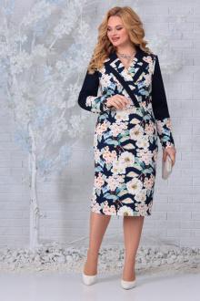 Платье Ninele 2300 синий_цветы