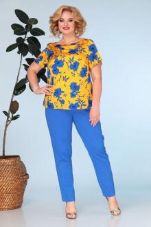 брюки,  топ Anastasia 591.1 горчица+ярко-синий