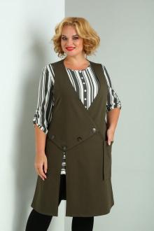 блуза,  жилет SOVITA M-2124 олива-полоска
