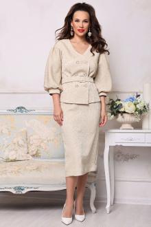 жакет,  юбка Мода Юрс 2521-1 золотисто-бежевый_узоры