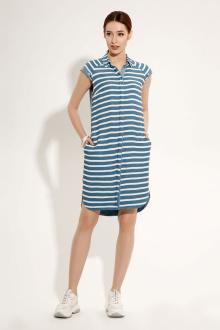 Платье Панда 481580 бело-голубой
