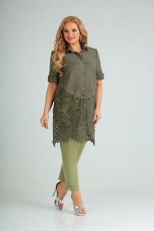блуза,  брюки AMORI 8021 хаки-салат