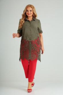 блуза,  брюки AMORI 8021 хаки-красный