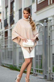 платье, пончо Diva 1328 бежевый