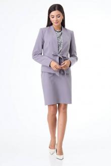 блуза,  жакет,  юбка T&N 7071 серо-голубой+белый_ леопард
