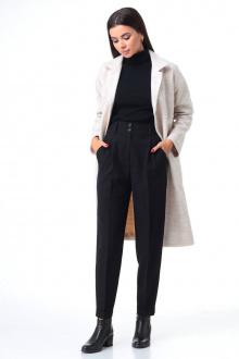брюки,  водолазка,  пальто T&N 7085 жемчуг+черный