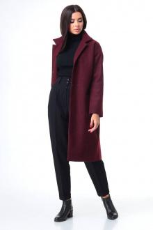 брюки,  водолазка,  пальто T&N 7085 бордо+черный