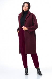 брюки,  водолазка,  пальто T&N 7085 бордо+бордо