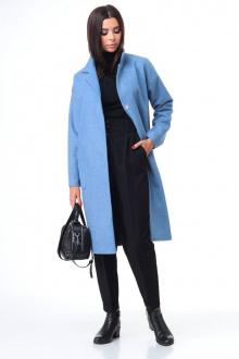брюки,  водолазка,  пальто T&N 7085 голубой+черный