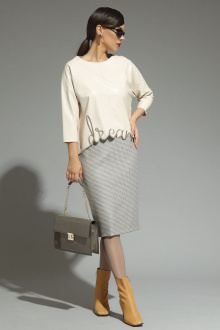 блуза,  юбка Магия моды 1969 молочный+серые_тона