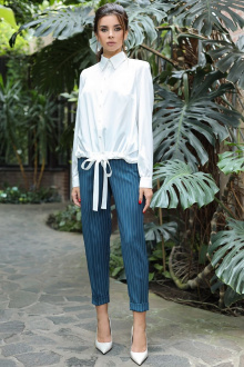 блуза,  брюки Мода Юрс 2698 бирюза-молочный
