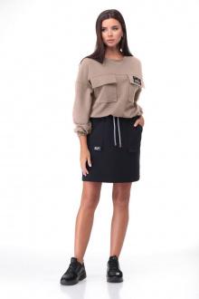 джемпер,  юбка Bonna Image 631 беж+черный