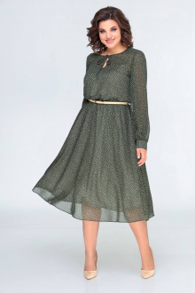 платье,  ремень Swallow 396 зеленый_в_горошек