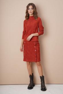 джемпер,  юбка Fantazia Mod 3751 терракот