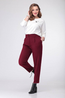 блуза,  брюки T&N 7098 молочный/бордо