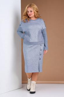 джемпер,  юбка Viola Style 2669 серо-голубой