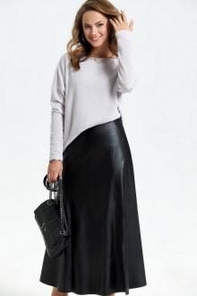 джемпер,  юбка TEZA 2671 жемчужный+черный