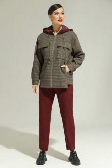 брюки,  куртка Магия моды 2001 зелено-бордовый+ бордовый