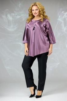блуза,  брюки Angelina & Сompany 590 сиреневый-черный