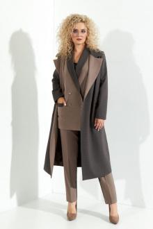 брюки,  жилет,  пальто,  топ Euromoda 366 капучино+серый