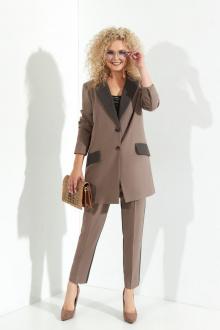 брюки,  жакет,  топ Euromoda 369 капучино+серый