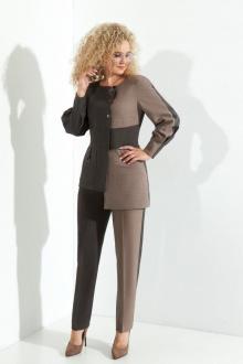 брюки,  жакет Euromoda 374  капучино+серый