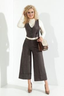 брюки,  жилет Euromoda 376 серо-коричневый