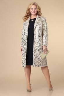 жакет,  платье Romanovich Style 3-2188 кремовый/черный