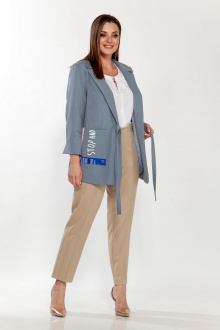 брюки,  жакет Belinga 2198 серо-голубой/песок