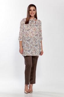 блуза,  брюки Belinga 2193 молоко/коричн.клетка
