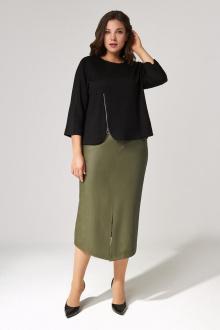 джемпер,  юбка IVA 1308 черный-олива