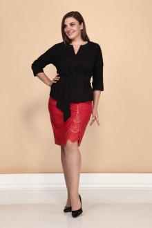 блуза,  юбка Klever 297+3016 красный+черный
