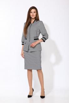 жакет,  юбка Karina deLux М-9919 черно-белый_клетка