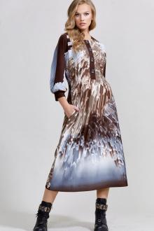 платье Teffi Style L-1592 молочный_шоколад_+_кристаллы