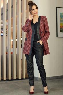 брюки,  жакет Мода Юрс 2583-1 черный-красный
