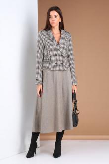 жакет,  юбка Viola Style 2671 гусиная лапка-серый меланж