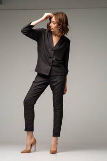 брюки,  жакет Ivera 6004 серый, коричневый