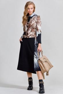 жакет,  юбка Teffi Style L-1533 черный+кристаллы