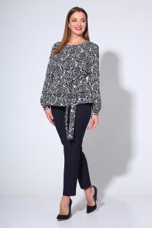 блуза,  брюки Liona Style 763 цветы_синий