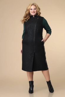 жилет,  платье Romanovich Style 3-2212 черный\зеленый
