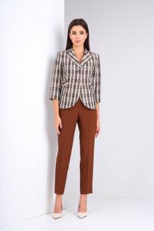 брюки,  жакет Shetti 2019 клетка+коричневый