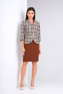 жакет,  юбка Shetti 2020 клетка+коричневый