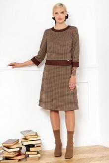 джемпер,  юбка VIZANTI 9401 коричневая_клетка