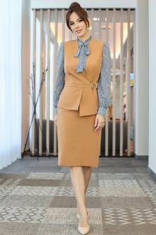 блуза,  жилет,  юбка Мода Юрс 2538 коричневый