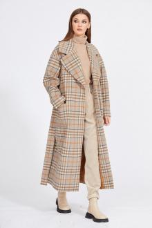 пальто EOLA 2124 бежевый_клетка