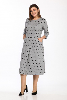 платье Lady Style Classic 1857/4 серый_черный_горох