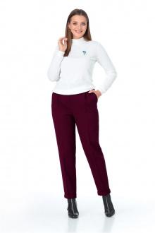 брюки,  водолазка T&N 7086 белый-бордо
