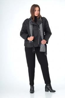 брюки, полупальто, шарф T&N 7101 графит-черный