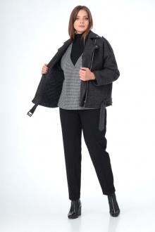 брюки,  водолазка,  жилет, полупальто, шарф T&N 7103 графит_серый_черный