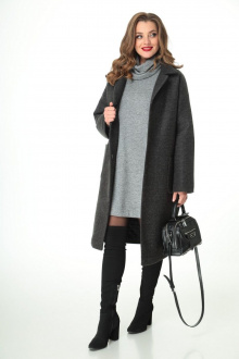 пальто,  платье, воротник T&N 7105 графит-серый